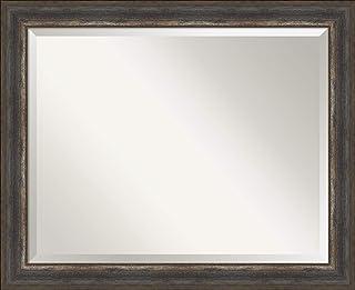Amanti Art Framed Vanity Mirror | Bathroom Mirrors for Wall | Alta Rustic Char Mirror | Wall Mounted Mirror | Medium Mirror | 26.62 x 32.62 in.