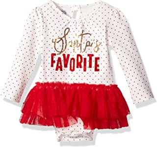 Mud Pie Baby Girls' Santa's Favorite Skirted Mesh Tutu Long Sleeve Crawler