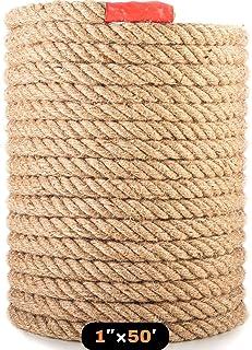 Manila Rope 1″×50′ - Nautical Ropes - Natural Jute Rope - Large Decorative Hemp Rope - Thick Heavy Duty (1 Inch 50Ft)