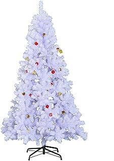 HOMCOM Árbol de Navidad 180cm Artificial Pino con Adornos Decorativos 48 Pcs y Soporte Metálico Color Blanco Árbol Realista para Decoración Navidad