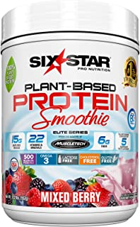 Six Star Plant Based Protein Smoothie, Plant Protein Powder, Mixed Berry, 1.22 Pound
