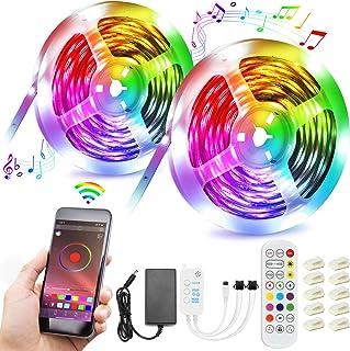 Tiras LED,15M Luces LED Inteligentes Musica RGB 5050 Tira LED de Interior Habitación con 20 Colores y 21 Modos de Control ...