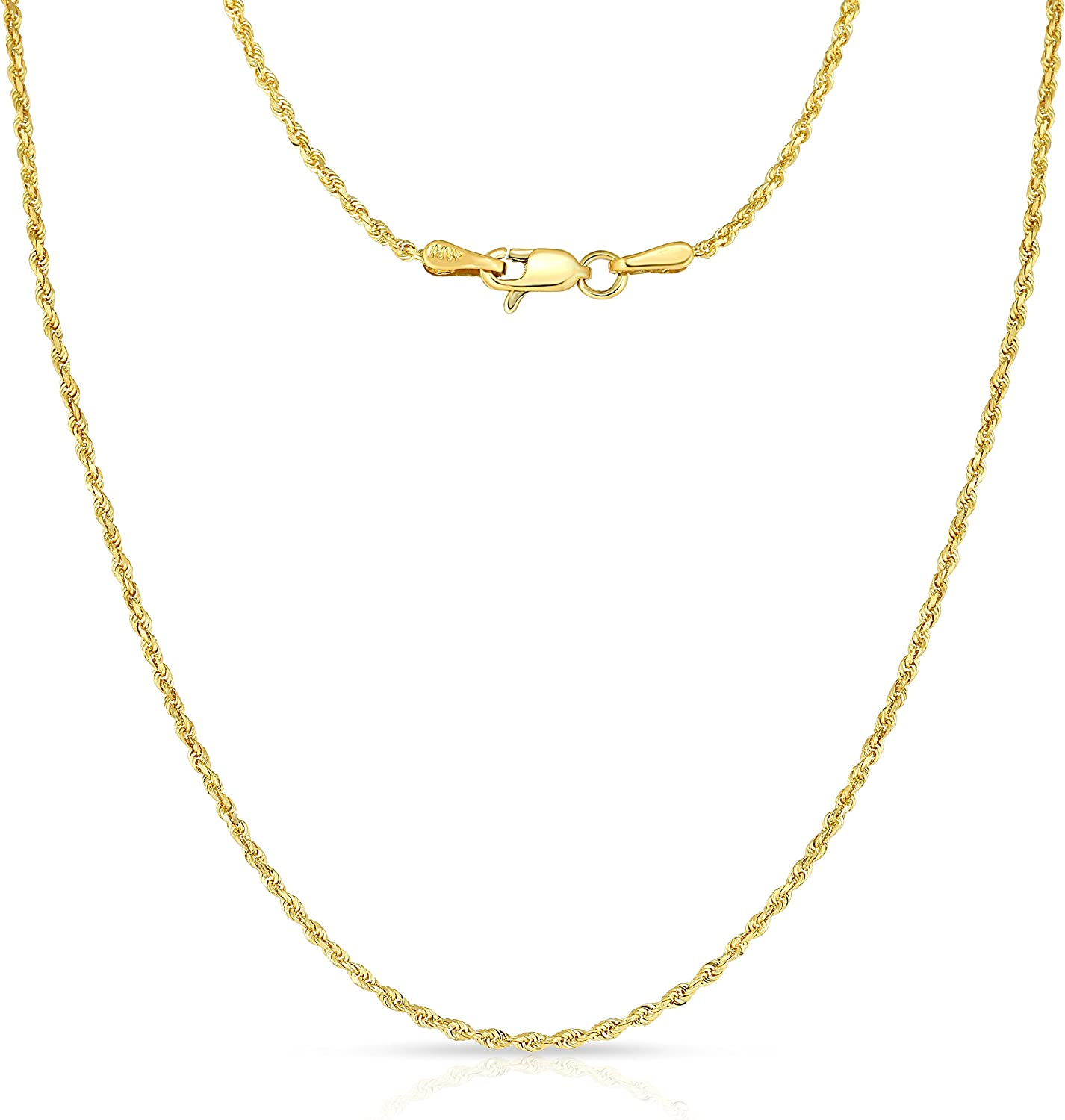 Floreo 10k Yellow Gold 1.5mm Solid Diamond Cut Rope Chain Necklace