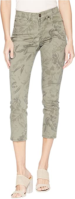 "Printed Stretch Twill 25"" Five-Pocket Capris"