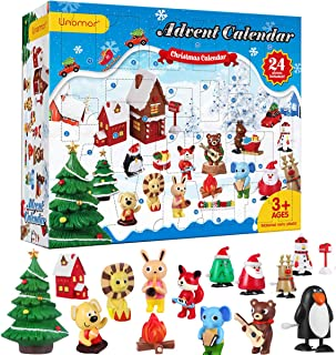 Unomor Christmas Advent Calendar, Kids Advent Calendar 2019 with 24PCS Resin Crafts and Winding Toys for Girls Boys - Countdown to Christmas