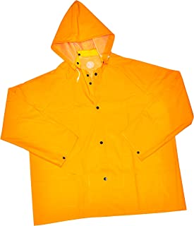 "G & F 331XXL Heavy Weight 35MM PVC over Polyester Rain Coat with Hood, 32"" Long, Rain Jacket Heavy Duty, XX-Large, Yellow"
