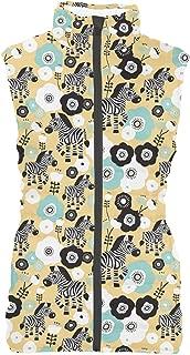 Rainbow Rules Zebra Blossoms Womens Puffer Vest Bodywarmer Gilet