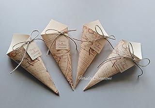 20 coni porta riso coni confetta tema viaggio con tag personalizzato