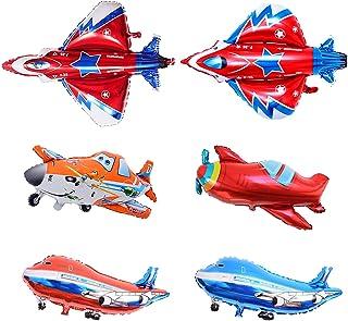 Globos Gigante Avión de Helio,Comius Sharp 6 Piezas Aviones Avión Helicóptero Foil Globo,Decoración para Fiesta de los niños Modelo Avión,Party Accesorios de Cumpleaños.