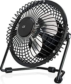 """GPX Mini 4"""" USB Personal Fan, Compatible with Computers, Laptops, Portable Chargers, Black (AU25B)"""