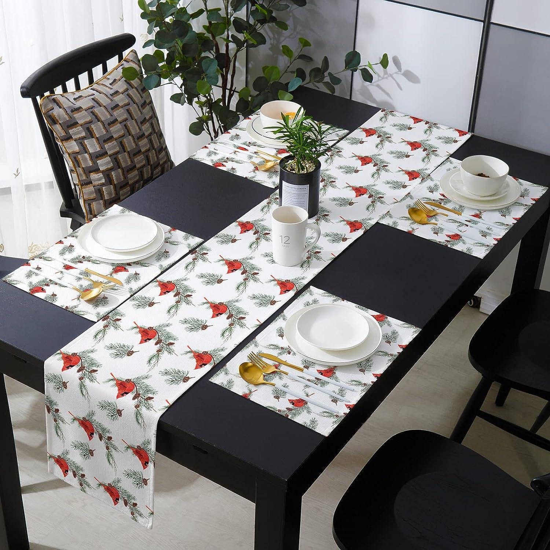 Financial sales sale WARM TOUR Christmas Cardinal Table New color 4pcs Set Placemat with Runner