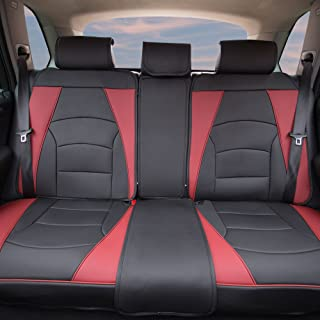 FH Group PU205013 Ultra Comfort Leatherette Bench Seat Cushions, Burgundy/Black Color- Fit Most Car, Truck, SUV, or Van