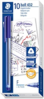 Staedtler 432 F-3 Office Colours Ballpoint Pen, line Width F, 0.3 mm, 10 Pieces in a Cardboard Box, Blue