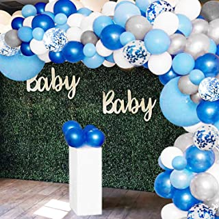 135 Pieces Balloon Garland Arch Kit - White Blue Silver and Blue Confetti Latex Balloons for Baby Shower Wedding Birthday Party Centerpiece Backdrop Background Decoration