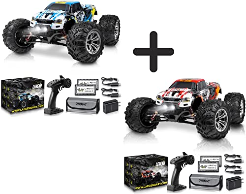 popular 1:10 Scale Large RC Cars 50+ kmh Speed - Boys Remote Control Car outlet sale 4x4 Off Road Monster Truck Electric - All Terrain Waterproof Toys Trucks for Kids and Adults - new arrival Blue-Yellow and Red-Orange Bundle Pack online