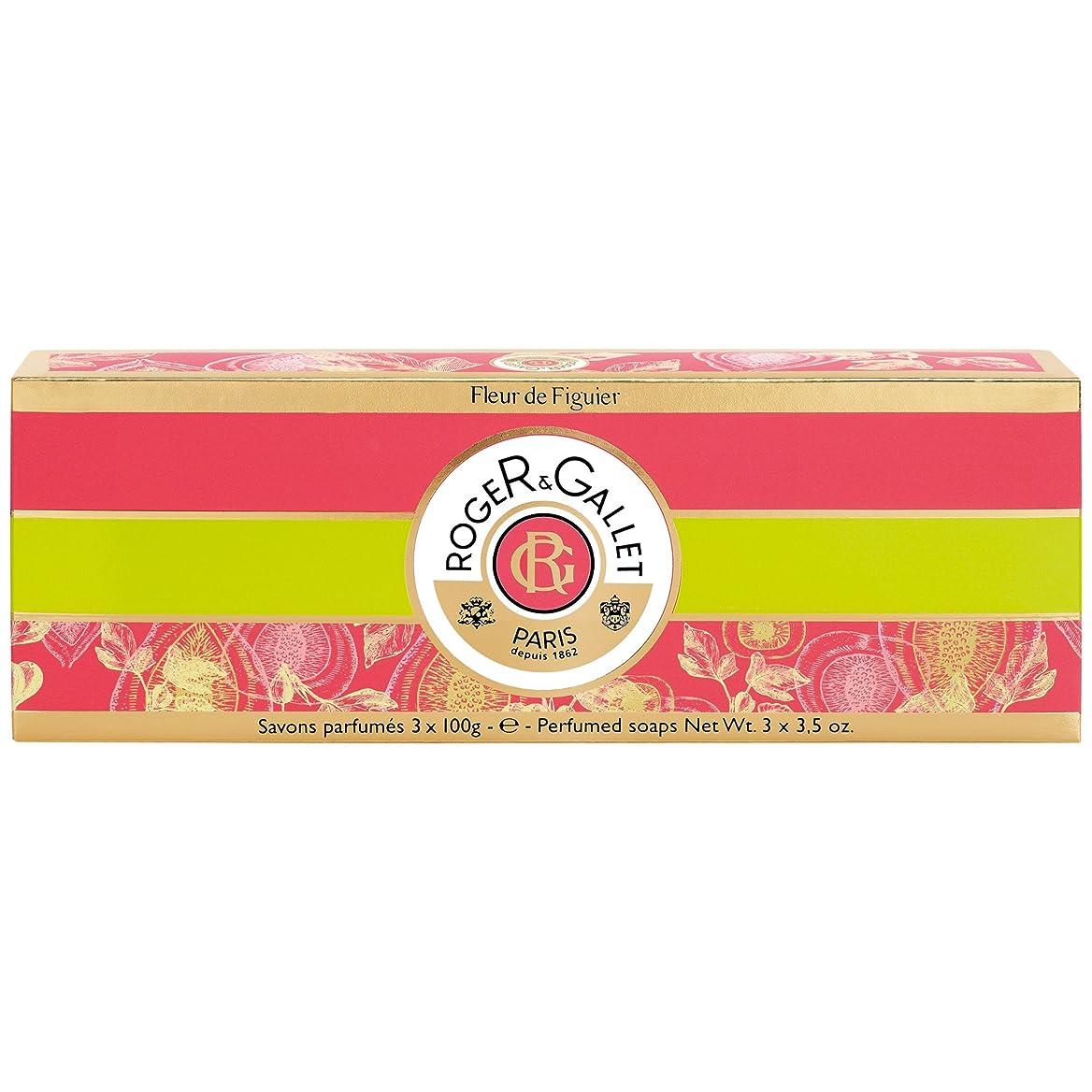 甘い類人猿数値ロジャー&Galletのフルール?ド?フィギエソープコフレ3×100グラム (Roger & Gallet) (x2) - Roger & Gallet Fleur de Figuier Soap Coffret 3 x 100g (Pack of 2) [並行輸入品]