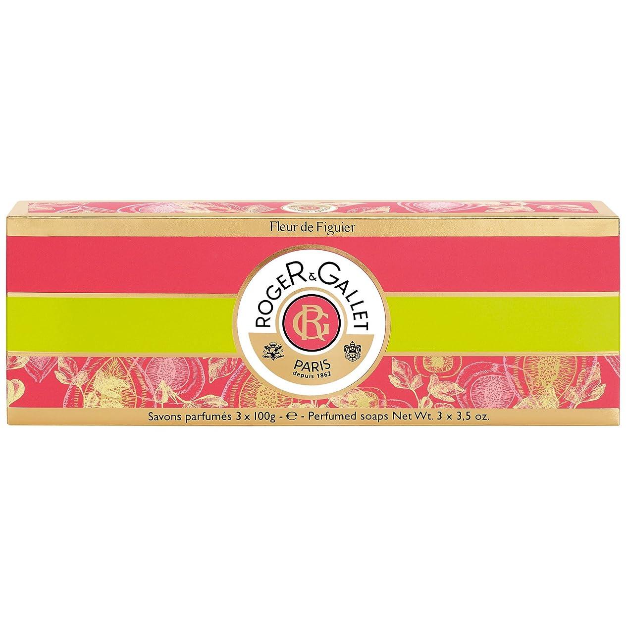 腹痛望み無効ロジャー&Galletのフルール?ド?フィギエソープコフレ3×100グラム (Roger & Gallet) (x2) - Roger & Gallet Fleur de Figuier Soap Coffret 3 x 100g (Pack of 2) [並行輸入品]