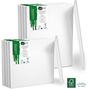 Calidad Akademie Artina Set de 2 lienzos Blancos de 100/% algod/ón con bastidores robustos 280g//m/² 40x60 cm