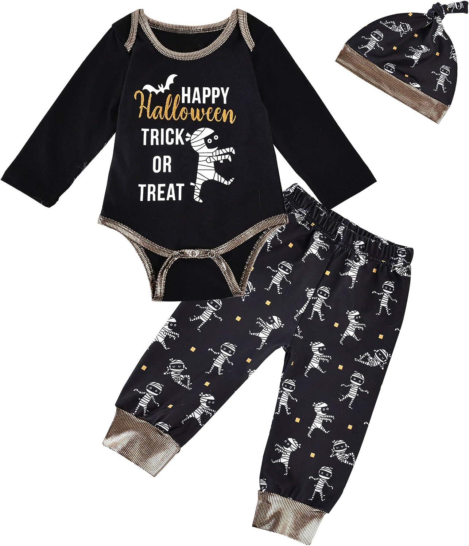 CM C&M WODRO Halloween Baby Boy Clothes 3Pcs Mummy Zombie Print Romper Bodysuit + Pants + Hat Infant Outfit