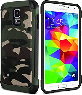 FDTCYDS Galaxy S5 Case,Shockproof Armor Ultra Hybrid Rugged Camouflage Cover Case for for Samsung Galaxy S 5 - Camo Green