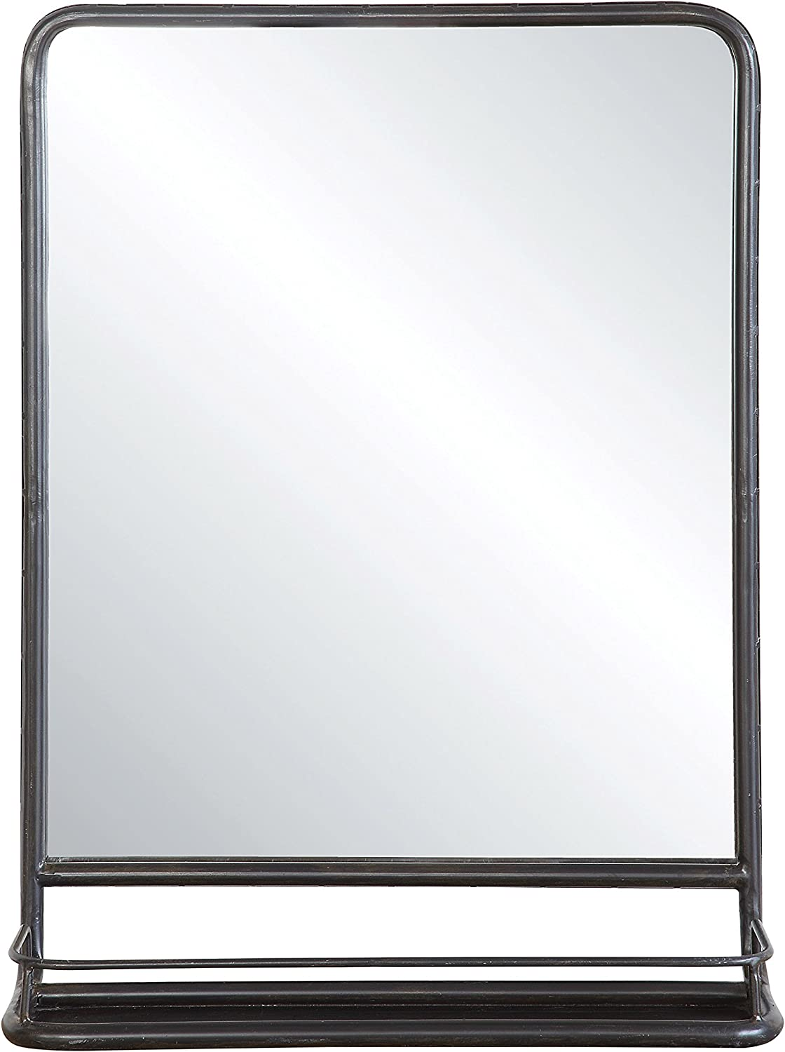 Creative Co-Op Large Metal Framed Shelf 47-Mirrors-Reflective, 19.5  x 27.5 , Black