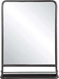 Creative Co-op Rectangle Metal Framed Wall Mirror with Shelf, Single Vanity, Black