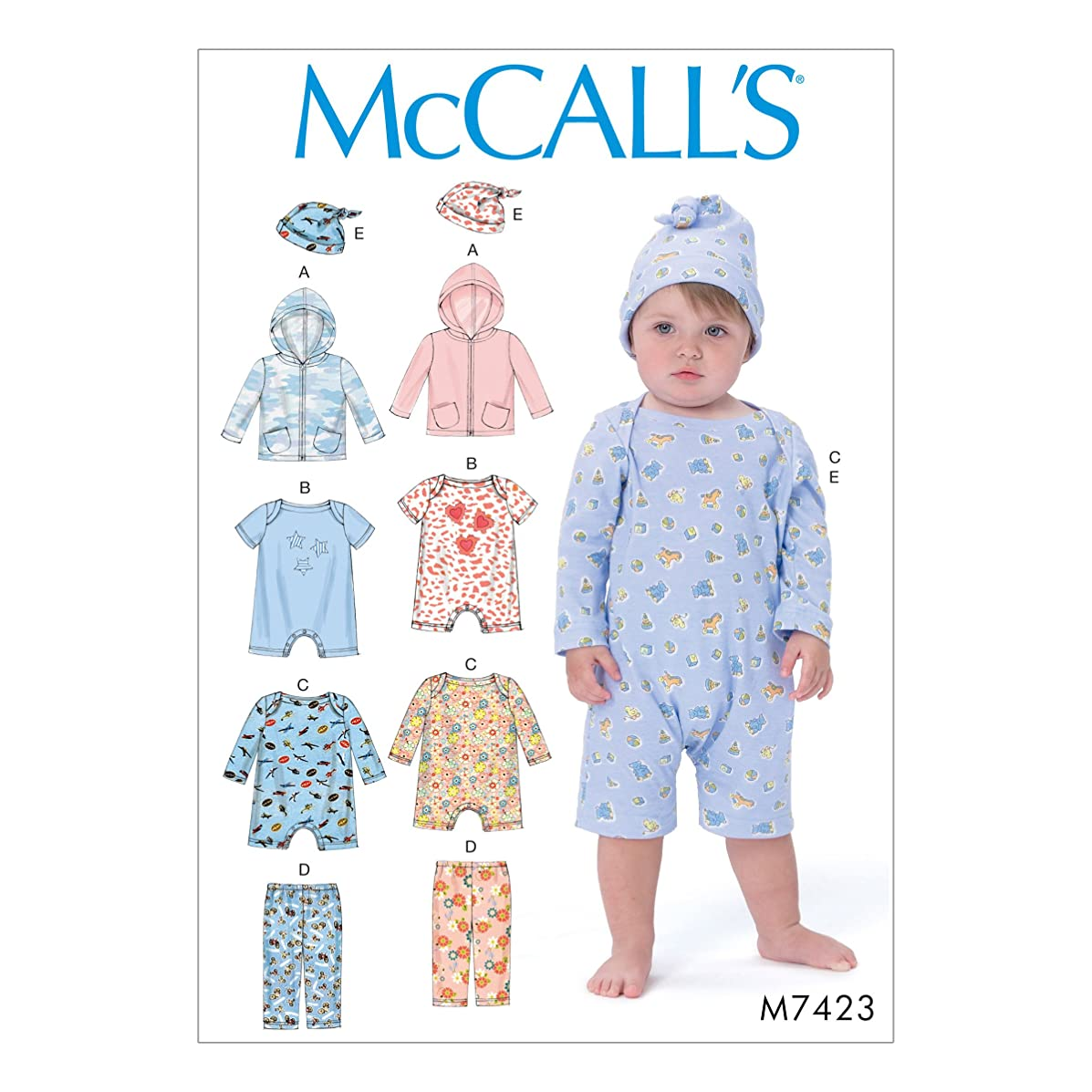 McCall's Patterns M7423YA5 Infants' Hoodie, Bodysuits, Pants and Beanie