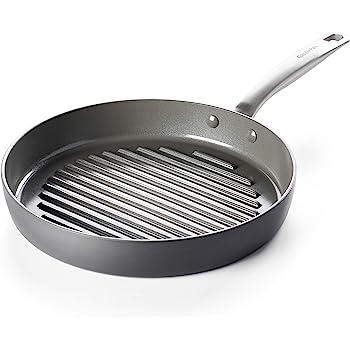 "GreenPan Chatham Healthy Ceramic Nonstick, 11"" Grill Pan, Gray"