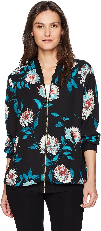 Chaus Womens Long Sleeve Kyoto Blossoms Bomber Jacket Jacket