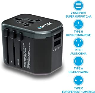 Portable Universal Travel Power Adapter Plug 2.4A - 2 x Fast-Charge USB Ports - Safe and Fireproof - International Wall Charger Adapter for Smartphone, Tablet and All Devices - Works in US/UK/EU/AU