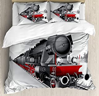 Libaoge 4 Piece Bed Sheets Set, Locomotive Red Black Train on Steel Railway Track Travel Adventure Graphic Print, 1 Flat Sheet 1 Duvet Cover and 2 Pillow Cases