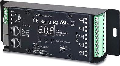Sunricher 4 Channel CV DMX RDM Digital PWM Decoder for RGB & RGBW LED Lighting 12-36V DC UL Recognized Controller 4x8A Dimmer SR-2102BEA-RJ45