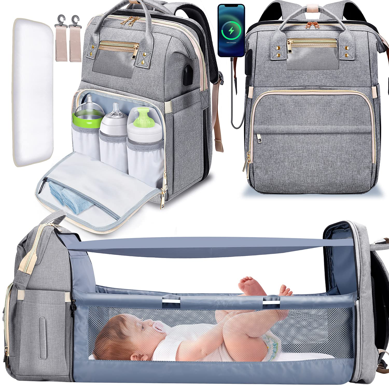 Gimars 6 in 1 Folding Diaper Bag Backpack with Changing Station for Boys Girl, Portable Baby Bags for Travel, Multi-Function, Waterproof Baby Diaper Bag with Insulated Milk Bottle Pocket, Grey