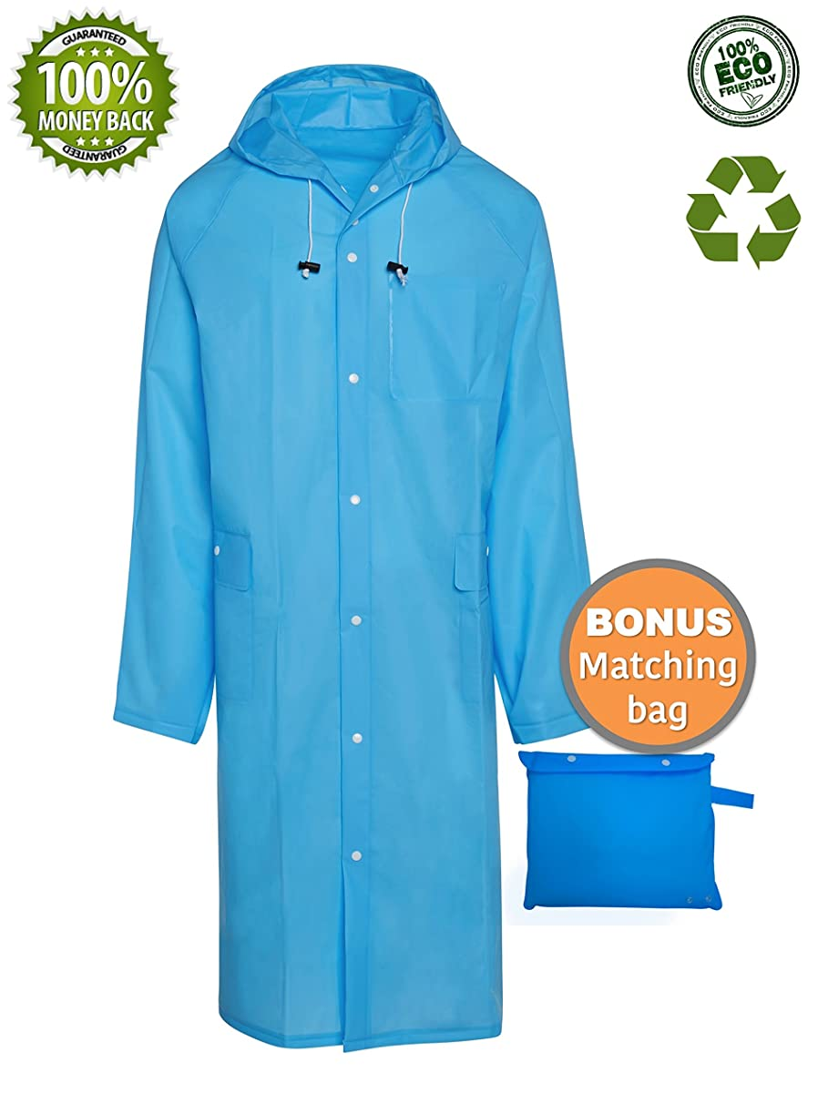 BlinQ Portable Rain Poncho Rain Jacket Raincoat with Drawstring Hood and Pocket | Extra Long Lightweight Packable Waterproof Rainwear | Adult Reusable Men Womens Rain Coat for Outdoor Travel