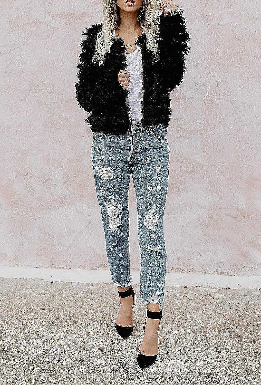 Inorin Womens Fall Open Front Cardigan Faux Fur Coat Vintage Parka Shaggy Jacket Warm Coat Tops