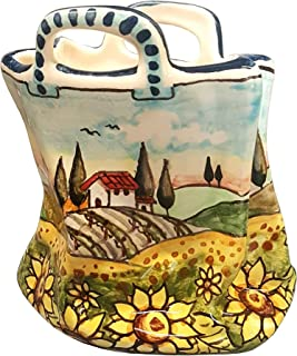 CERAMICHE D'ARTE PARRINI - Italian Ceramic Art Pottery Small Bag Pencil Holder Hand Painted Decorated Sunflowers Landscape Made in ITALY Tuscan
