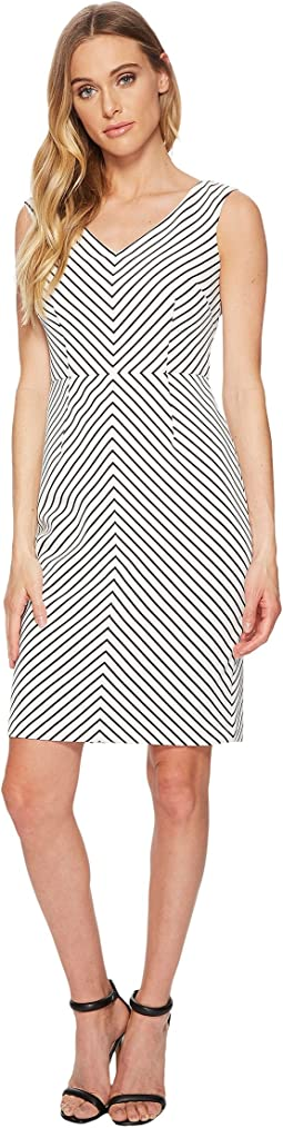 Adrianna Papell - Striped Ottoman Sheath