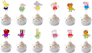 Party Hive 24pc Peppa Cartoon Pig Cupcake Toppers for Birthday Party Event Decor (Assortment 1)