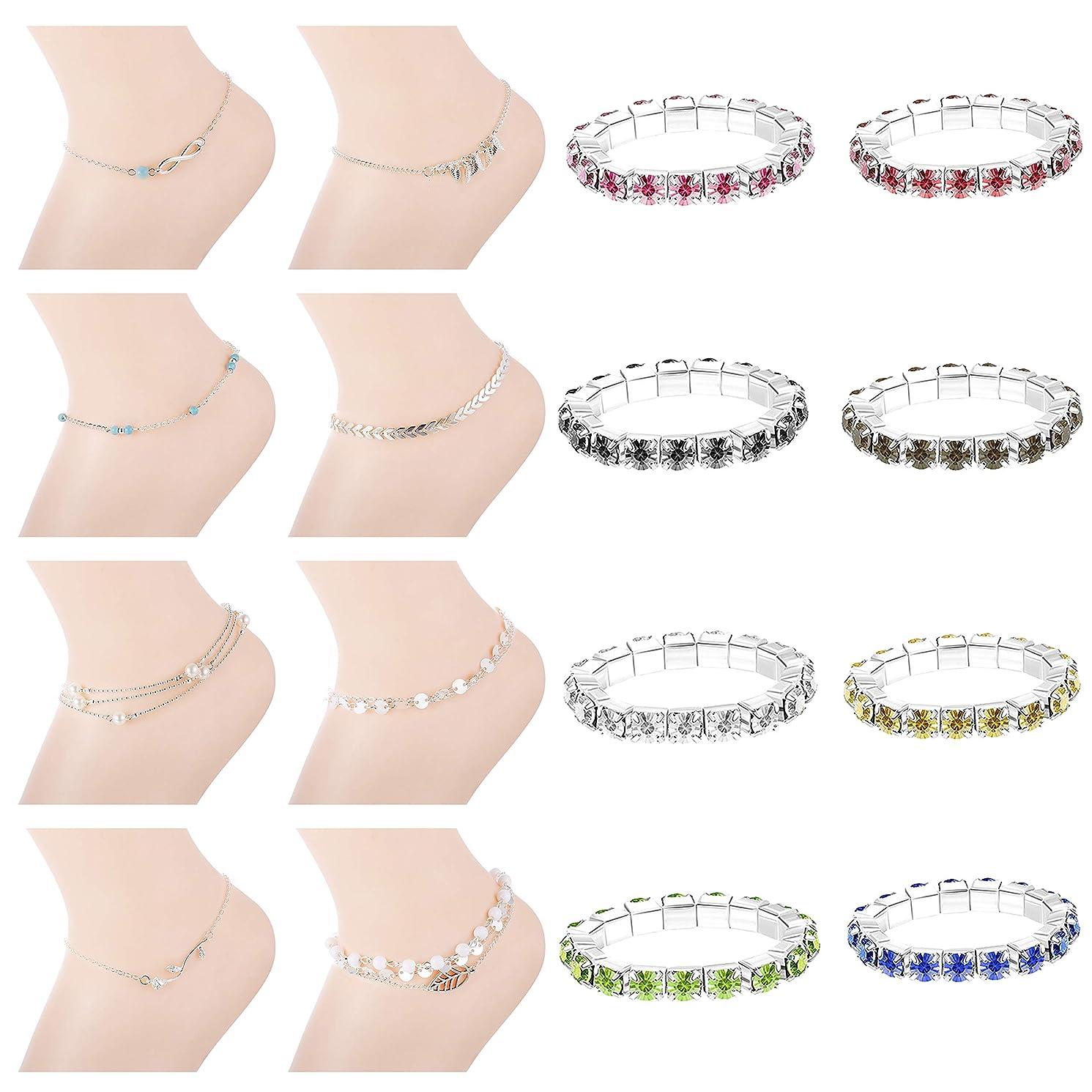 LOYALLOOK 2-16PCS Women Anklet Elastic Crystal Toe Rings Set Women Girls Beach Ankle Chains Bracelets Set Anklet Foot Jewelry for Women