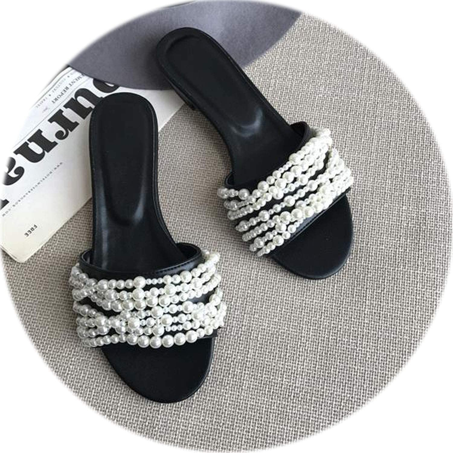New Spring Summer shoes Woman Casual Slippers Designer Leather Pearls Open Toe Woman Cozy Flats Outside Slides Woman shoes