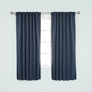 Best Home Fashion Thermal Insulated Blackout Curtains - Back Tab/ Rod Pocket - Navy - 52