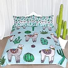 ARIGHTEX Alpaca Llama Cactus Pattern Bedding Green Blue Girls Cute Duvet Cover 3 Piece South American Cartoon Animal Bedspreads (Full)
