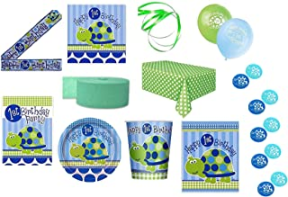 Boys 1st Birthday Turtle Themed Party Supplies for 16 Guests This Ultimate Party Pack Includes Banner, Table Cover, Cups, Luncheon Napkins, Plates, Treat Bags, Invitations, Curling Ribbon, Streamer, and Balloons - This Bundle Includes 108 Pieces!