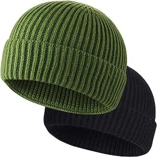 ROYBENS 2PCS Swag Wool Knit Cuff Short Fisherman Beanie for Men Women, Winter Warm Hats