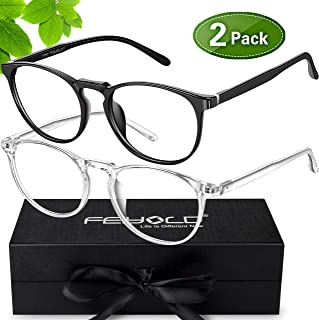 FEIYOLD Blue Light Blocking Glasses Women/Men,FDA Approved Anti Eyestrain Computer Gaming Glasses(2Pack)