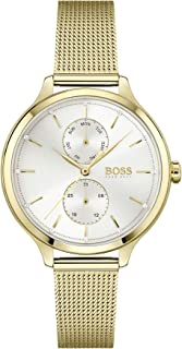 Hugo Boss Black Women'S Silver White Dial Ionic Thin Gold Plated 1 Steel Watch - 1502537