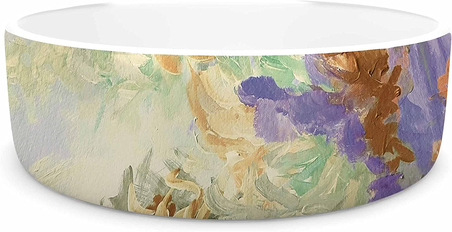 KESS InHouse Ebi Emporium When We Were Mermaids 10  Lavender Tan Pet Bowl, 7