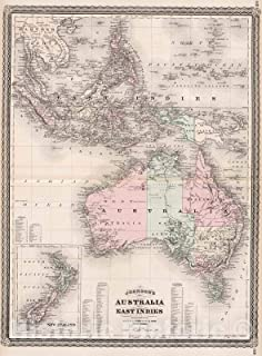 Historic Pictoric Map : Johnson's Australia and East Indies, 1880, Vintage Wall Decor : 44in x 60in