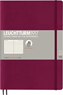 Leuchtturm1917 Softcover B5 Ruled Notebook- 121 Numbered Pages, Port Red