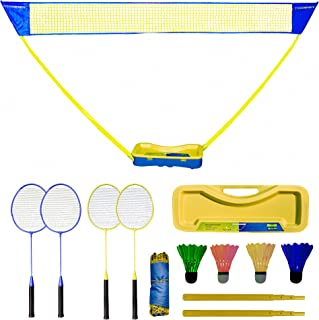 Badminton Set – Portable Badminton Set with Net, 4 Rackets and 4 LED Shuttle (Color Vary) – Popup Volleyball Net – Premium...